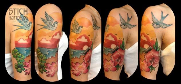 Tattoo Blumen Vögel